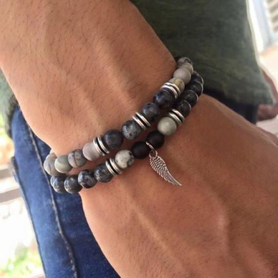 Men/'s Gift Men/'s Jewelry Husband Gift Present For Men Gift For Dad Men/'s Beaded Bracelet Boyfriend Gift Men/'s Bracelet Set
