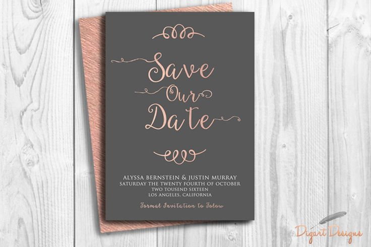 REPIN NOW for later! Rose Gold Save the Date Card Printable Typography Save Our Date Modern Pink Grey Save Date Printable Card Custom DIY Save Date Weeding Card by DigartDesigns on Etsy