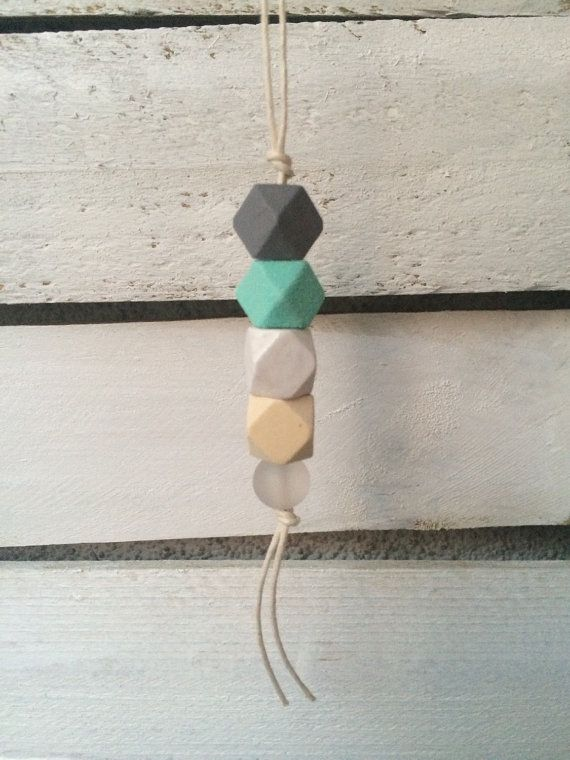 geometric wooden bead necklace statement by MarcelinaWorkshop
