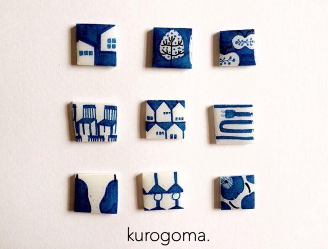 北欧柄のピアス【青】 by kurogoma. アクセサリー ピアス