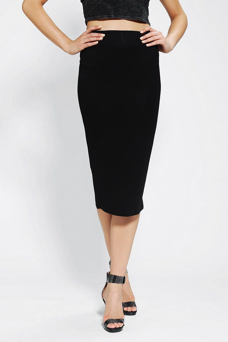 Urban Outfitters Kat Knit Midi Skirt in Black | Lyst