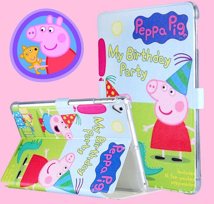 iPad air2保護カバー2017新型proプロ9.7インチPeppa Pigアイパッド手帳型タブレットiPad9.7 TPUイラスト風絵柄