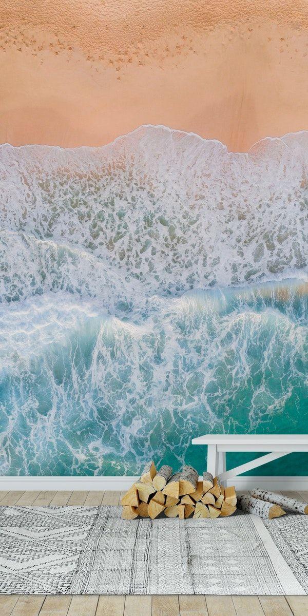 Ocean Beach Aerial Wall Mural With Images Ocean Mural Ocean