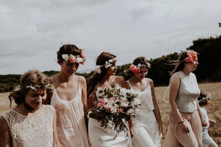 blush briedesmaid dresses / boho flower crown