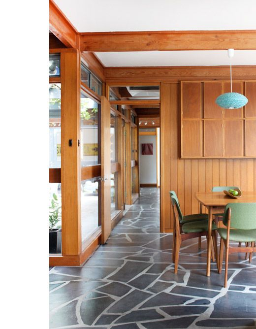 The Adelaide Home Of Brian Parkes And Family. Original South Australian  Mintaro Slate Floors And Timber Panelling.