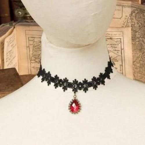 Lace Short Necklace With Gem Black - One Size