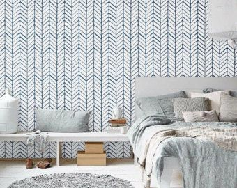Self adhesive vinyl wallpaper  Herringbone pattern print