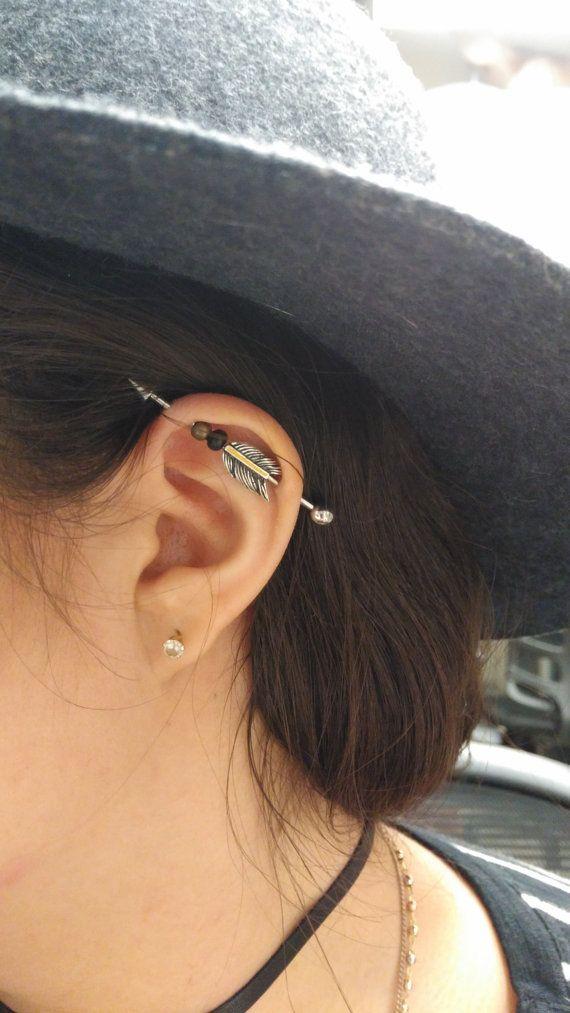 Perles plume flèche Barbell industriel échafaudage Piercing