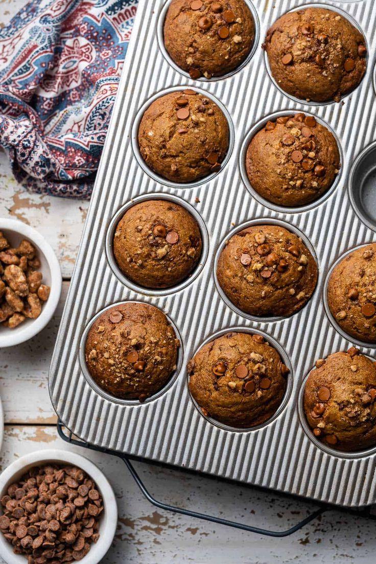 Cinnamon chip and walnut pumpkin muffins recipe