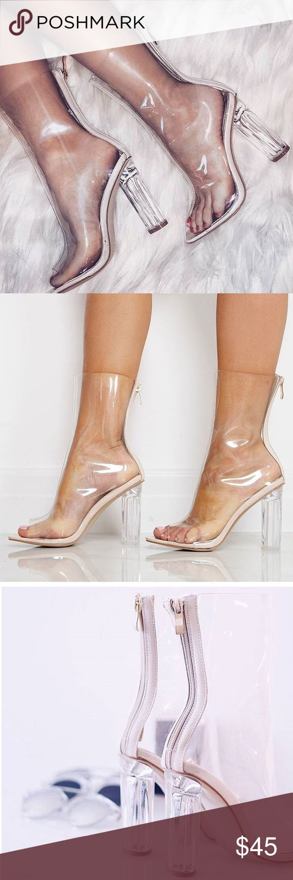 Nude Perspex Clear Ankle Boots Peep toe, very sexy,comfortable and stylish. Worn only once and sold out pretty much everywhere. No damage, they're in great condition. From Lola Shoetique (marked otherwise for exposure) as seen on Kim Kardashian and other celebrities. ❌ price is firm holds returns trades Yeezy Shoes Heels