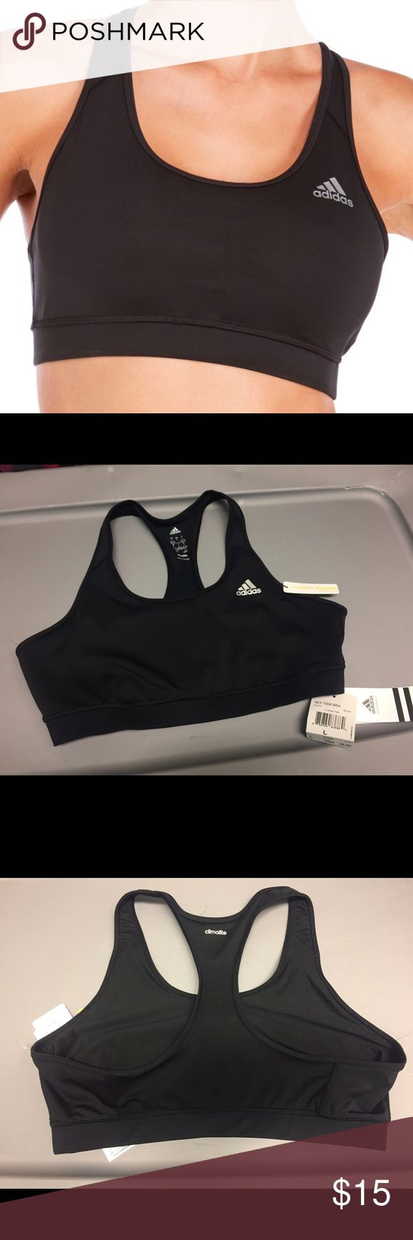 """NWT Adidas Medium Support Black Sports Bra Adidas """"climalite"""" medium support black sports bra with silver logo. """"Climalite"""" keeps your body dry by drawing sweat away from the skin. Comfy and great condition - new with tags! Women's size large. Originally $25. Adidas Intimates & Sleepwear Bras"""