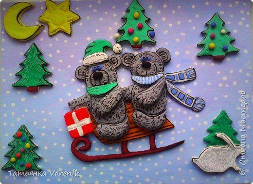 Картина панно рисунок Новый год Лепка Зимние развлечения  = Гуашь Тесто соленое фото 2