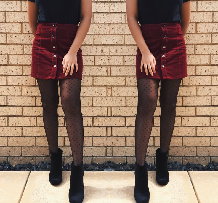 Maroon skirt with dotted tights and ankle