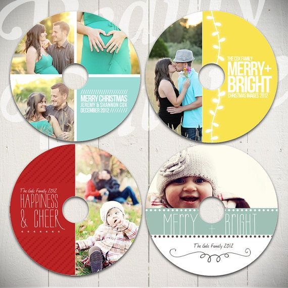 Christmas CD Label & Case Templates: Volume One - Set of Four Photography templates for CD or DVD