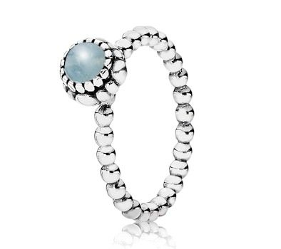 Pandora Silver & Aquamarine March Birthstone Ring