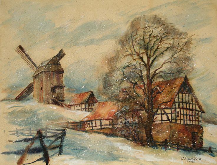 Olga Vinnitskaya. Mühle in Breckerfeld. Aquarell auf Tee mit flach Pinsel auf Papier.