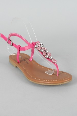 City Classified Metric-S Leatherette Rhinestone Slingback Flat Sandal hot  pink