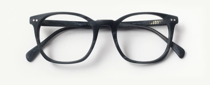 The Meritt matte black horn glasses are a square frame for oval and round shaped faces. Features stainless steel hinges, custom-made matte black horn acetate, and a retro flat nose bridge for a vintage style glasses look. Meritt matte black horn sunglasses feature UVA/UVB protective charcoal lenses (polarized lenses included on all Rx sunglasses).