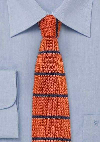Strick-Krawatte streifengemustert kupfer-orange