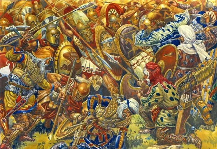 The Battle of Plataea (479BCE), where a Greek allied force, under the command of the Spartan General, Pausanius, defeated the remaining Persian expeditionary forces, forcing the remnants of the army to make for Persian held territory at Byzantion.