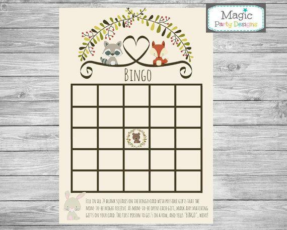 Woodland baby shower BINGO game printable by MagicPartyDesigns