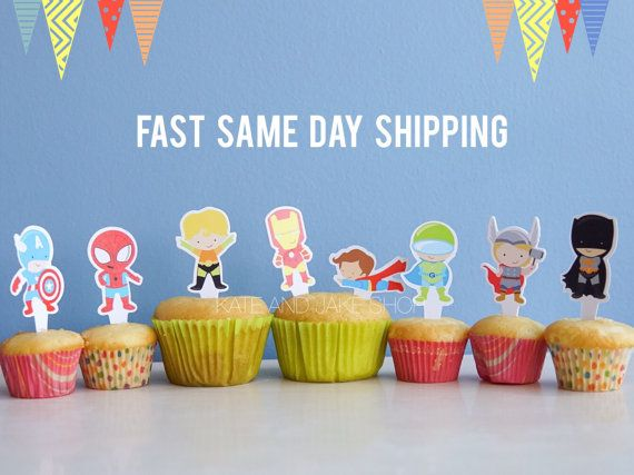 Set of 24 Superhero cupcake toppers double sided by Kateandjake