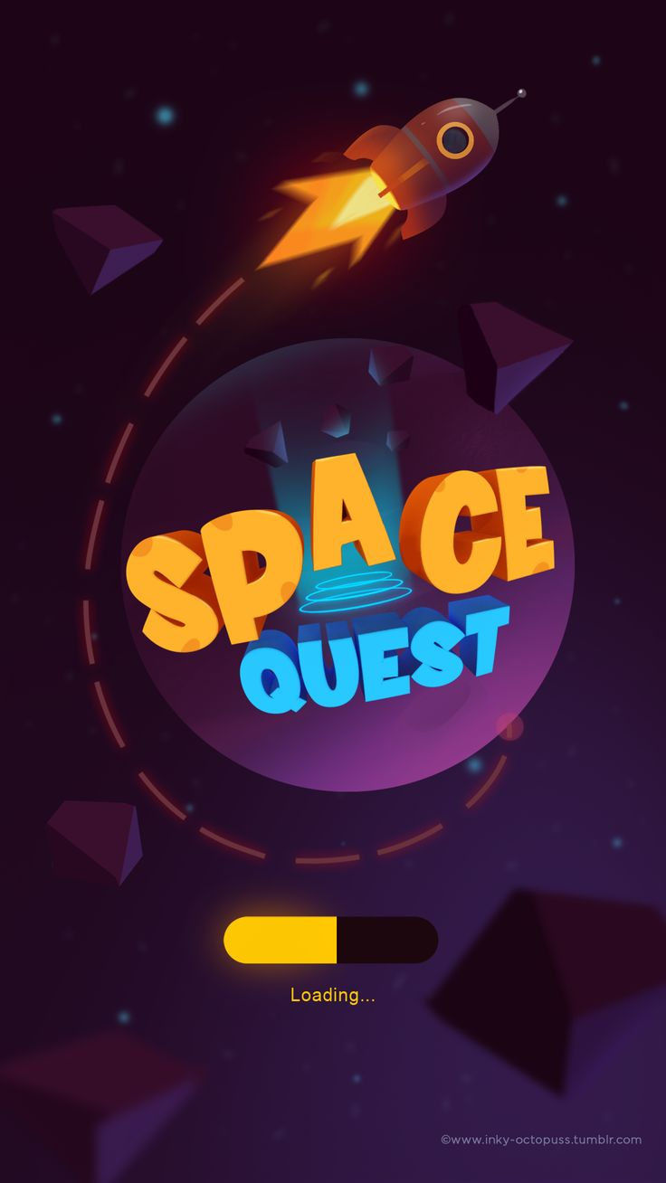 Splash screen, low poly rockets and UI elements for personal project.