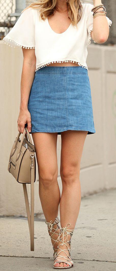 Denim Skirt Pom Pom Crop Top Lece Up Flat Sandals by Brooklyn Blonde