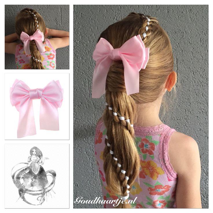 Four strand ribbon braid into a four strand ribbon carroussel braid with gorgeous bow from Goudhaartje.nl  #4strandbraid #fourstrandbraid #ribbonbraid #ribbon #braid #carrousselbraid #ponytail #bow #hairaccessories #4strengenvlecht #vierstrengenvlecht #lint #vlecht #staart #paardenstaart #strik #haarstrik #hairstyle #haarstijl #haaraccessoire