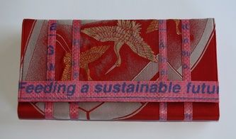 Handmade by disabled women in Cambodia using vintage chinese fabric and upcycled farm sacks.