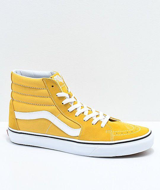 e5d327f74b659 Vans Sk8-Hi Ochre & White Skate Shoes Size: M 9 / W 10.5