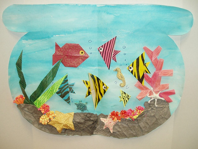 origami fish bowl for my little origami maker...