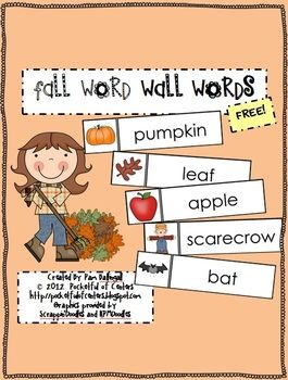 Fall Word Wall Words - FREE: 35 Fall, Writing Center, Words Wall, Wall Words, Wall Pockets, Fall Words, Word Walls, Fall Theme, Pockets Charts