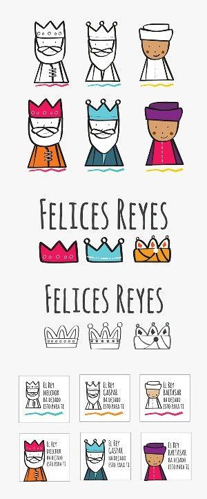 Etiquetas y dibujos Reyes Magos.