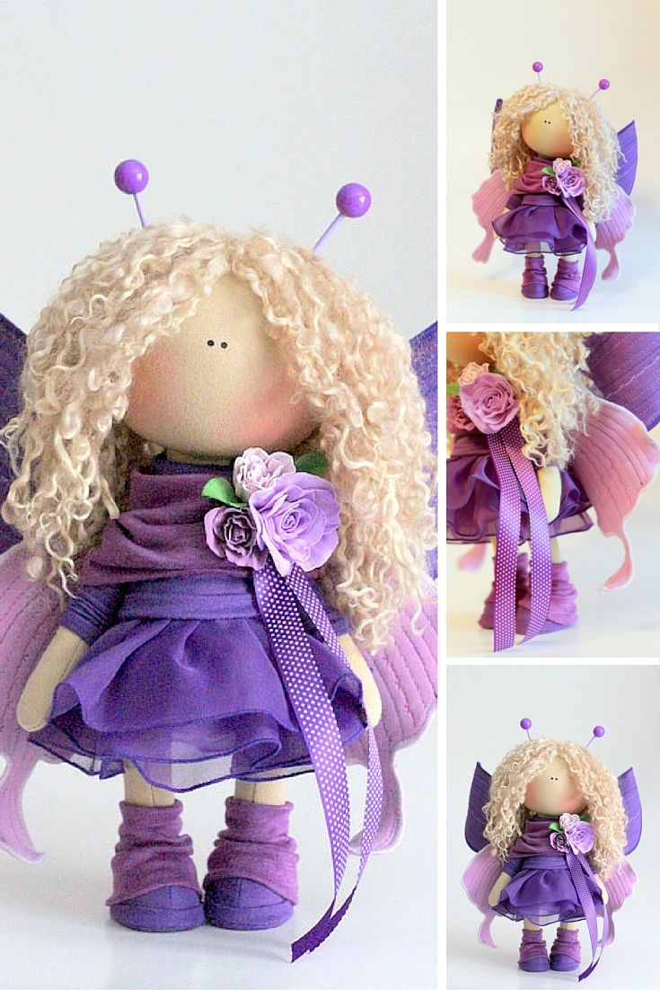 Baby bee doll Fabric doll Tilda doll pink curly blonde color Soft doll Cloth…