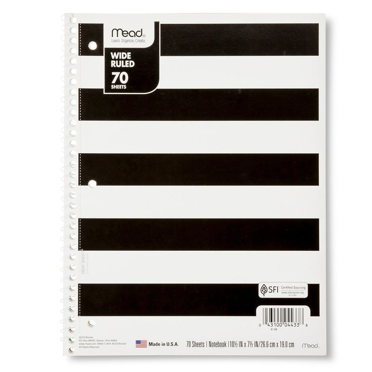 Mead 70 Sheet Wide Ruled Paper Cover Notebook -