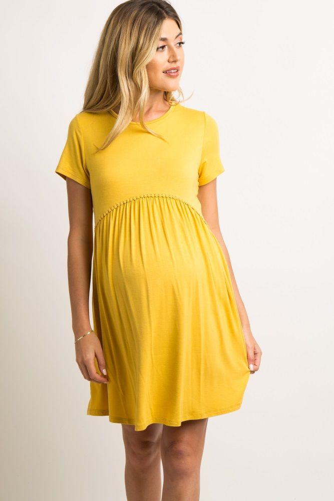 d09bb39c8897d Yellow Solid Crochet Trim Maternity Shift Dress in 2019   preg wear ...
