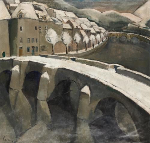 Willem Paerels (1878-1962) - view of the bridge of bouillon in the snow.