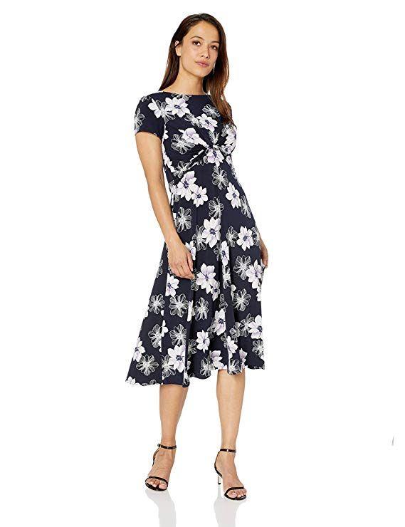 41bfad2ed9 Jessica Howard Women s Petite Short Sleeve Twist Waist Midi Dress at Amazon  Women s Clothing store