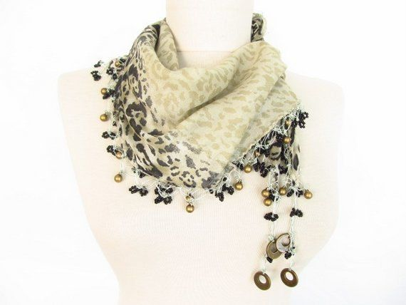 Christmas gift Leopard scarf  cotton scarf  Turkish by asuhan, $23.00