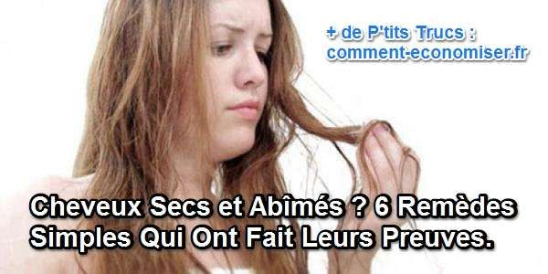 Si jamais vous avez les cheveux secs et abîmés, évitez de gaspiller votre argent dans des soins ou des spas pour cheveux hors de prix. Faites plutôt un tour dans votre cuisine pour trouver des remèdes efficaces pour soigner vos cheveux.  Découvrez l'astuce ici : http://www.comment-economiser.fr/6-remedes-faits-maison-pour-cheveux-secs-abimes.html?utm_content=bufferd2310&utm_medium=social&utm_source=pinterest.com&utm_campaign=buffer