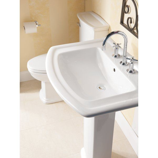 Gaynell Vitreous China Rectangular Pedestal Bathroom Sink With Overflow Small Bathroom Sink Pedestal Sinks