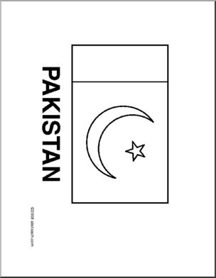 Flag Pakistan Line Drawing Of Pakistani Flag To Color Flags