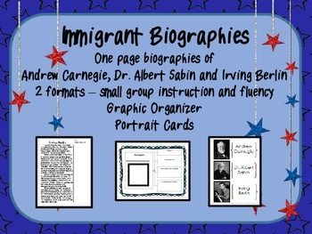 Looking to enhance your unit on Immigration?  Share the biographies of three immigrants who changed America and the world - Andrew Carnegie, Dr. Albert Sabin and Irving Berlin!  *Three one-page biographies have vocabulary words in bold and are presented in two formats:   1.