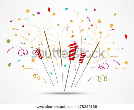 fireworks popping on white background