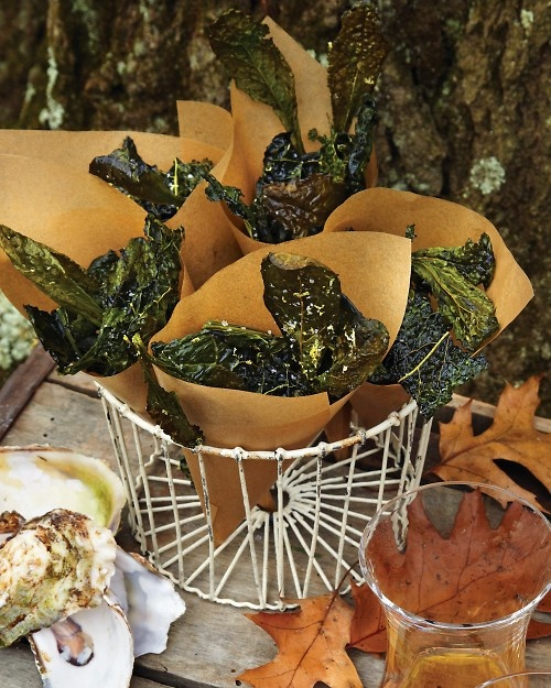 Kale crisps with Sea Salt and Lemon, Martha Stewart.