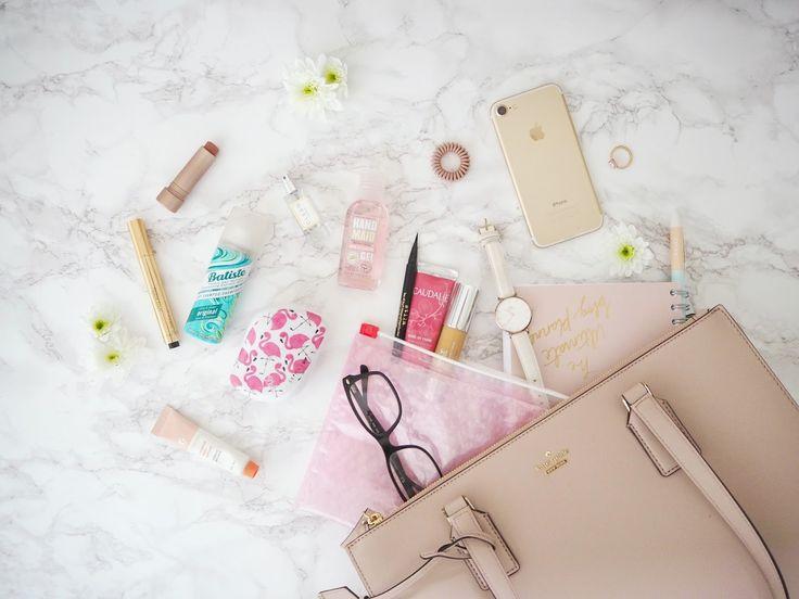 The Handbag Beauty Edit   Jasmine Talks Beauty #bblogger #bblogger #beauty #makeup #haircare #skincare #handbag #katespade #workbag #tangleteezer #yslbeauty #iphone #invisibobble #cleanreserve #glossier #caudalie #batiste #freshbeauty #lipbalm #discoverunder100k #flatlay #ukblogger #bagspill