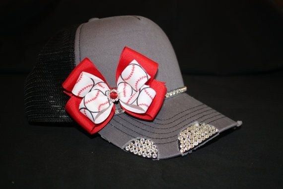 Baseball hats with custom bows and rhinestones for sports teams, any sports fans and every sports Mom!! on Etsy, $37.00
