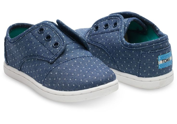 Blue Chambray Polka Dot Tiny TOMS Paseos | TOMS