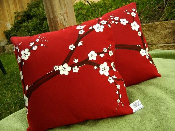 Hand Painted Pillow Covers with Cherry Blossoms in Red and White with Clasp Closure